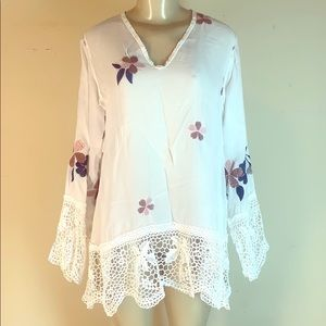 Johnny Was Dhalia Tunic Top White S